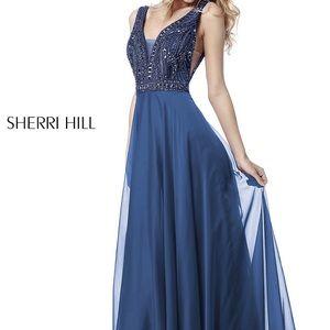 Sherri Hill Navy Prom Dress
